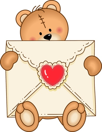 Bear Secure Envelope Heart Vector
