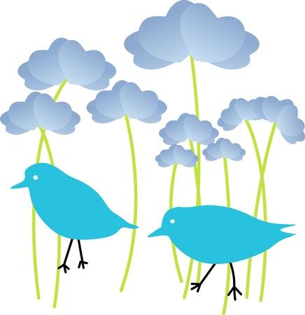 Blue Birds in Flowers Stock Vector - 13803442