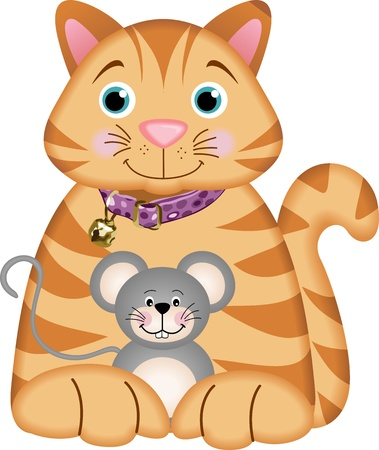 Kitten Playing with a Mouse Stock Vector - 13930099