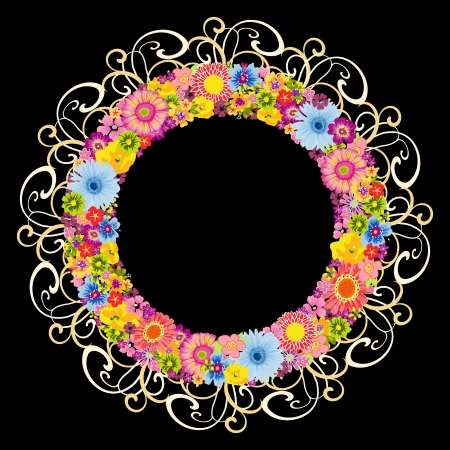 Colorful floral round frame on black background Stock Vector - 13957840