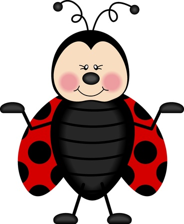 insect flies: Joyful Ladybug Illustration