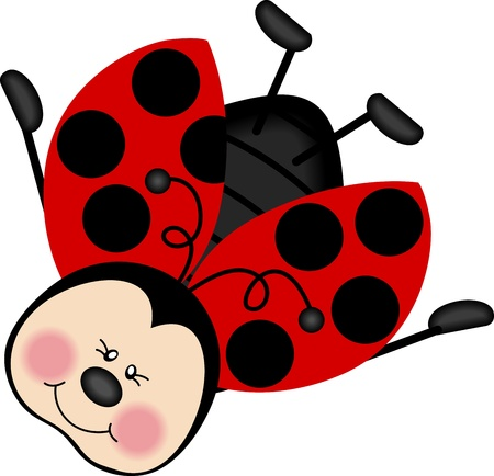 cartoon bug: Ladybug Happy Flying
