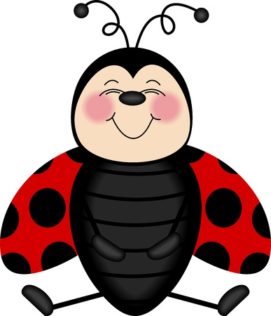 cartoon bug: Ladybug Smiling From Ear to Ear