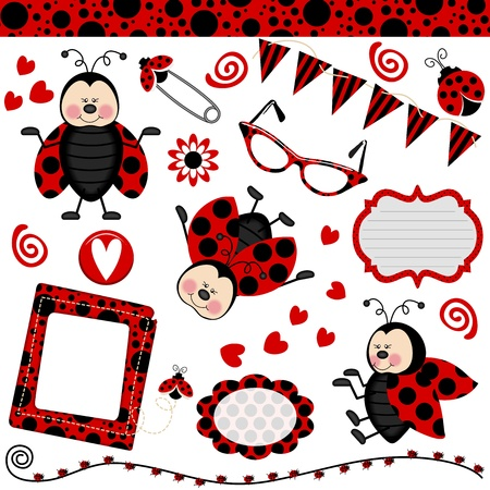 Ladybug Digital Collage Vector