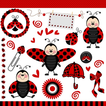 Ladybug Digital Scrapbook Illustration