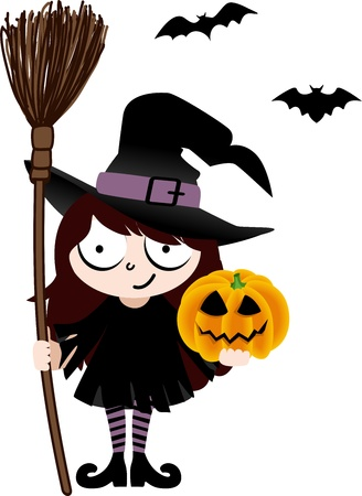 cartoon witch: Witch with Broom and Pumpkin