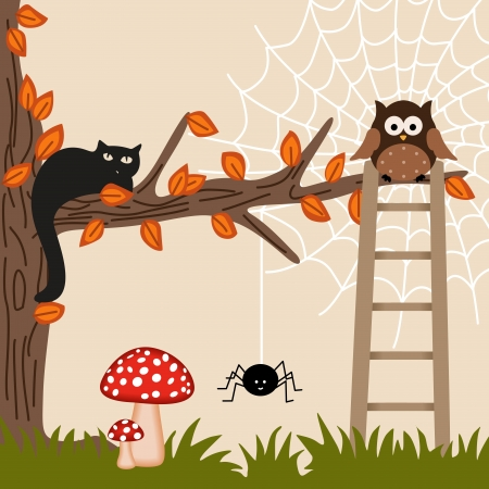 Cat and Owl on Tree Vector