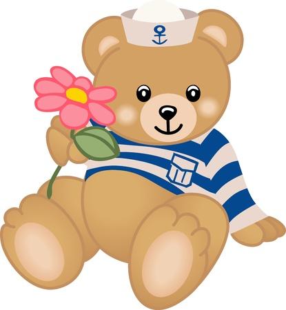 Teddy Sailor Offers Flower