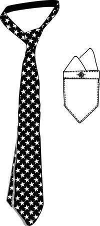 lazo regalo: Estrellas Corbata de tela estándar y de bolsillo Vectores