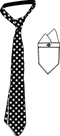 Necktie Standard Stars and Pocket Cloth Vector