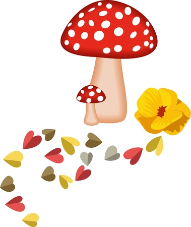 Magic Mushrooms and Hearts Illustration