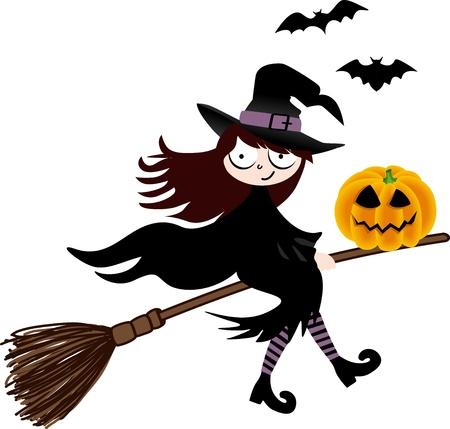 escoba: Una bruja y la calabaza de Halloween volando en una escoba Vectores