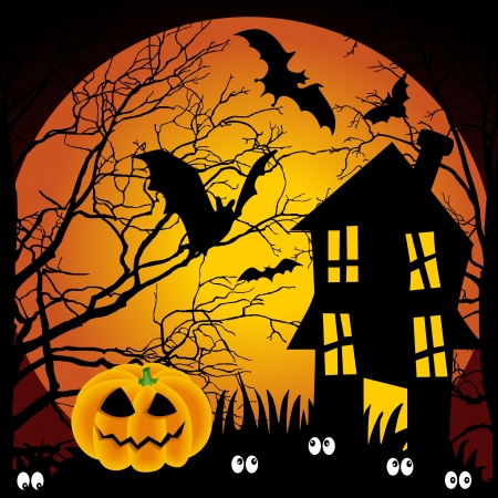 monsters house: Halloween night haunted house with bats and pumpkin