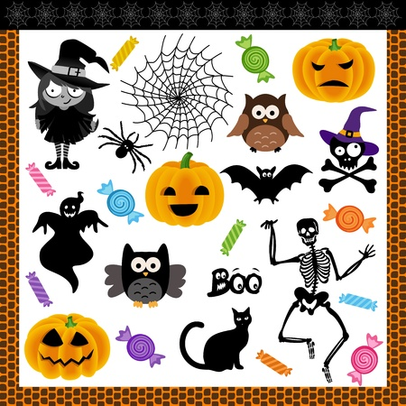 Halloween night trick or treat digital collage Vector