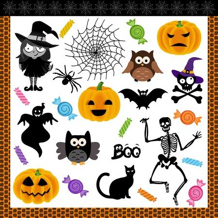 brujas caricatura: Truco de Halloween la noche o el tratamiento de collage digital
