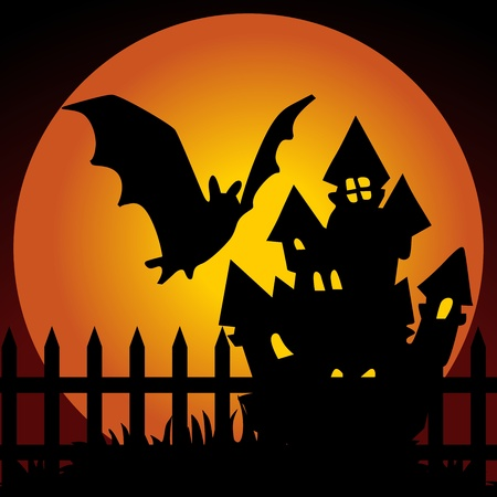 haunted house: Halloween night haunted house with bat Illustration