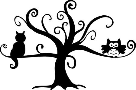 silueta de gato: La noche de Halloween del búho y el gato en el árbol