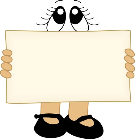 clip art feet: Blank banner label for message with eyes and feet