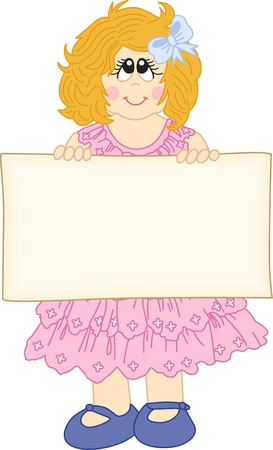 Cute girl holding a blank banner label for message Stock Vector - 14792582