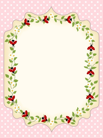 Frame postcard with a leaves and ladybugs Vector