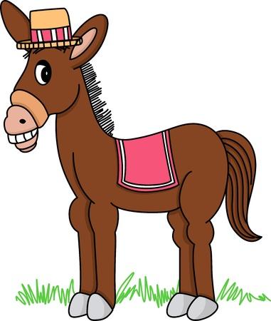 wild donkey: Brown Donkey Illustration