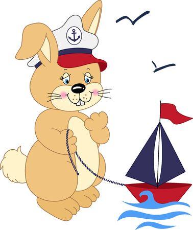 conejo caricatura: Sailor conejo jugando con un barco Vectores