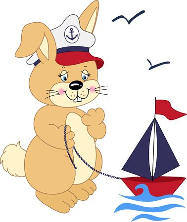 cartoon rabbit: Sailor rabbit playing with a boat