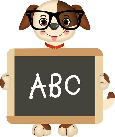 Teacher dog with tableau abc Vector