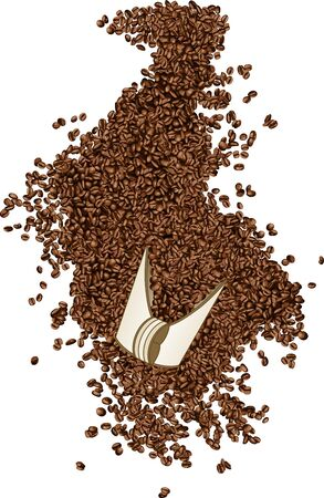 Coffee beans on a shovel Vector