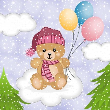 bonnet illustration: Teddy bear flying balloons in snow