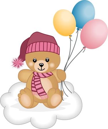 Winter teddy bear  flying balloons Illustration