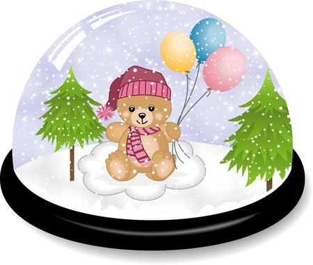 Cute teddy bear snowdome Vector