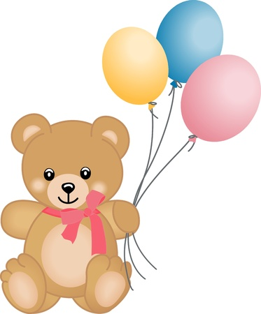 Cute teddy bear flying balloons Vector