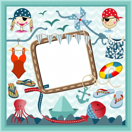 Digital frame nautical pirates Vector