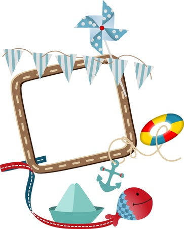 Nautical frame theme Stock Vector - 15353047