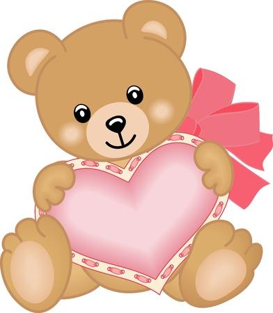 teddy: Cute teddy bear with heart Illustration