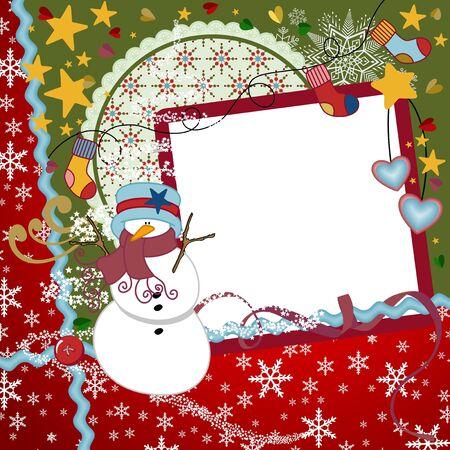 feliz: Natale Scrapbook layout Vettoriali