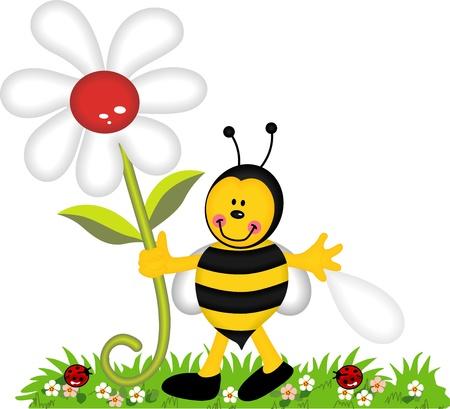 blumen cartoon: Gl�ckliche Biene mit Blume im Garten Illustration