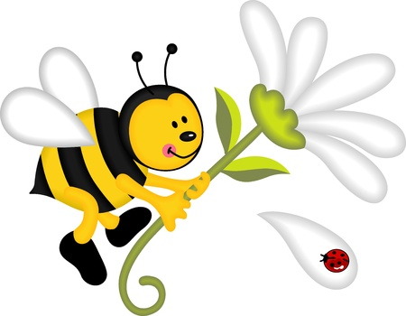 Bee flying holding flower Vector