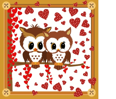 Love owls framed valentine Vector