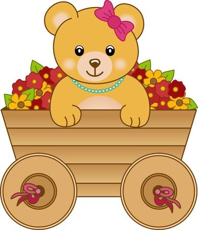 Cute little bear inside cart flowers Illustration
