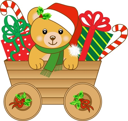 Christmas cart with teddy bear Vector