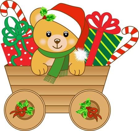 osos navide�os: Navidad carrito con osito de peluche
