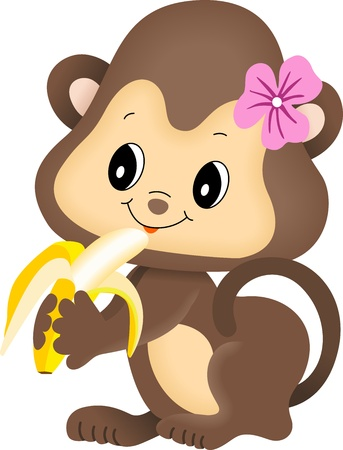 banaan cartoon: Meisje aap eet banaan Stock Illustratie