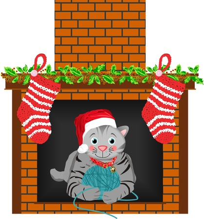 Christmas Cat Stocking Vector