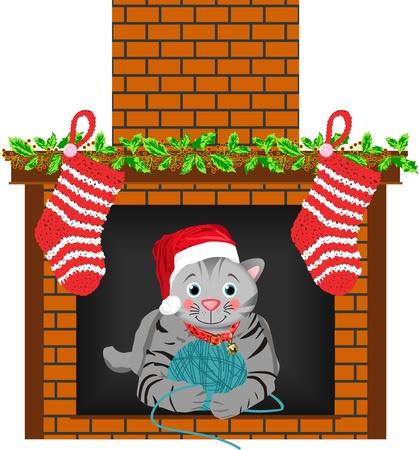 Kat van Kerstmis Stocking Vector Illustratie