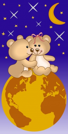 Teddy bears in love under the universe Vector