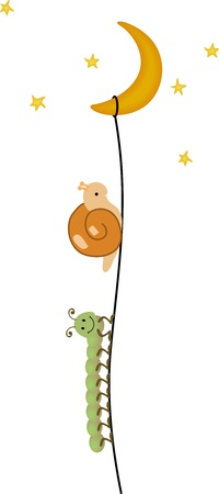cartoon stars: Centipede and snail climbing to the moon Illustration