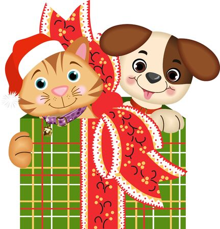 Dog and Cat Christmas Gifts Vector