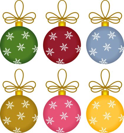 Glass Ball Christmas Ornaments Vector